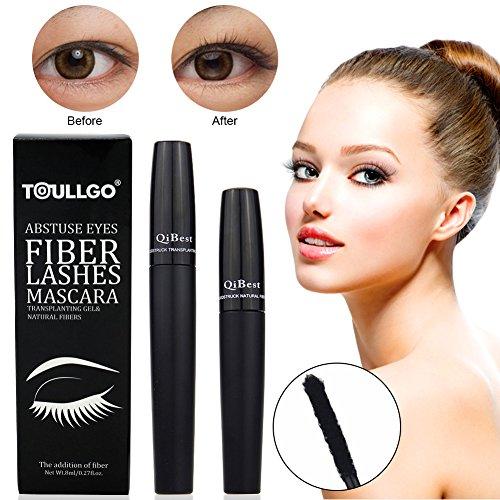 4D Silk Fiber Lash Mascara, Fiber Mascara, 4D Fiber Lash Mascara, Waterproof Long Lasting Eyelash Extension Warm Water Washable 4D Eyelash Mascara Makeup-Black