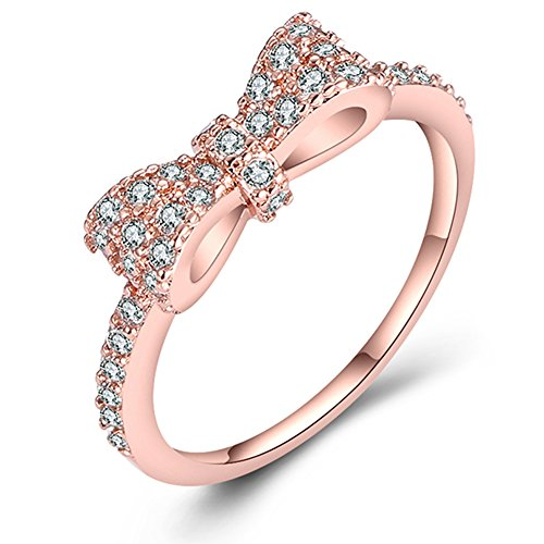Gold Plated Bow (F-U 18K Rose Gold Tone Cute Bow Knot Design Tiny CZ Diamond Paved Engagement Rings for Women, Size 7 to 9 (gold-plated-base, 6))