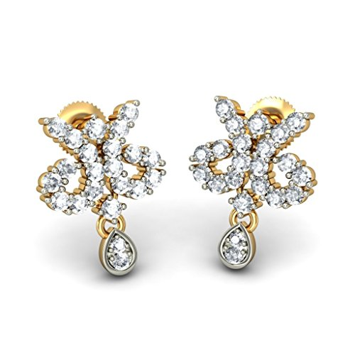14 K Or jaune 0,69 ct tw White-diamond (IJ | SI) Pendants d'oreilles