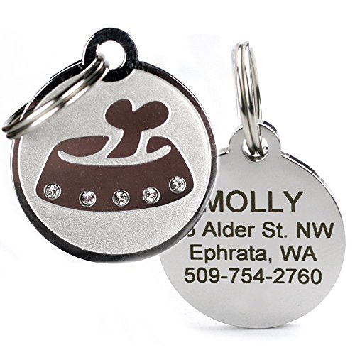 GoTags Designer Pet ID Tags in Stainless Steel for Dogs and Cats, Custom Engraved with 4 Lines of Personalized ID, Cute, Unique Pet Tags in Several Fun Designs ()