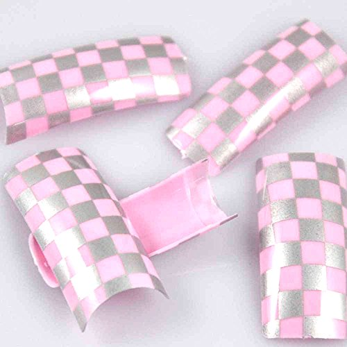 EFT 100 Beauty Silver Pink Checked Pre Designed Style Acrylic Plastic French False Nail Art Tips Fake Nail Tips with Case