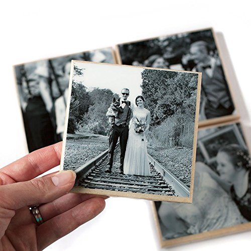 Custom Photo Coaster Set (4 Stone Coasters, Black and White OR Color) Personalized Photo Gift