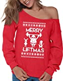 Vizor Merry Liftmas Sweatshirt Lifting Ugly Christmas Sweater Off Shoulder Funny Santa Sweater Lifting Sweaters Red M