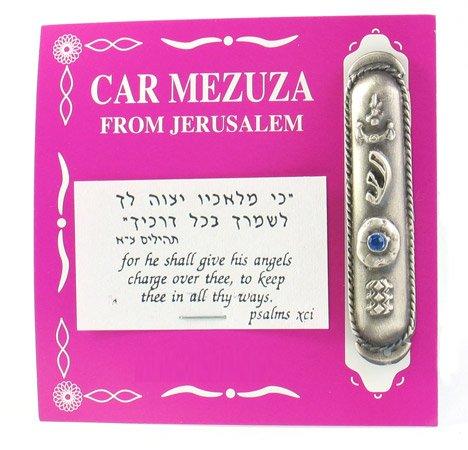 Silver Car Mezuzah with Blue Stone Mezuza From Jerusalem