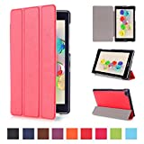 Tsmine Asus Zenpad C 7.0 Case - Lightweight Premium Slim Tri-fold PU Leather Case Stand Cover for Asus ZenPad C 7.0 Z170C / Z170CG / Z170MG Tablet (Auto Sleep / Wake up Features), Red