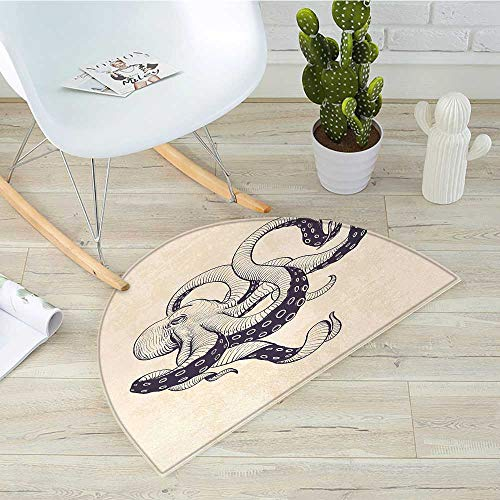 - Octopus Semicircle Doormat Hand Drawn Style Animal Illustration with Grunge Effect and Antique Style Halfmoon doormats H 51.1