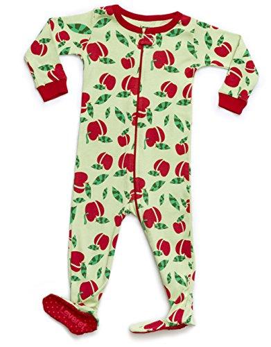 Apple Cotton Organic (Leveret Kids Organic Cotton Apple Baby Boys Girls Footed Pajamas Sleeper (Size 2 Toddler))