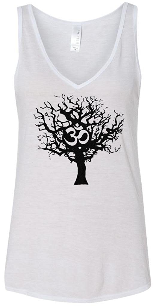 Yoga Clothing For You Ladies Black Tree of Life Flowy V-Neck Tank Top 8805-BLACKTREE