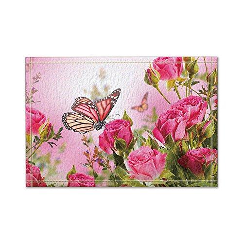 NYMB Flower Decor Butterfly Fliying on the Pink Rose Bath Rug, Non-Slip Floor Entryways Outdoor Indoor Front Door Mat,60x40cm Bath Mat Bathroom Rugs