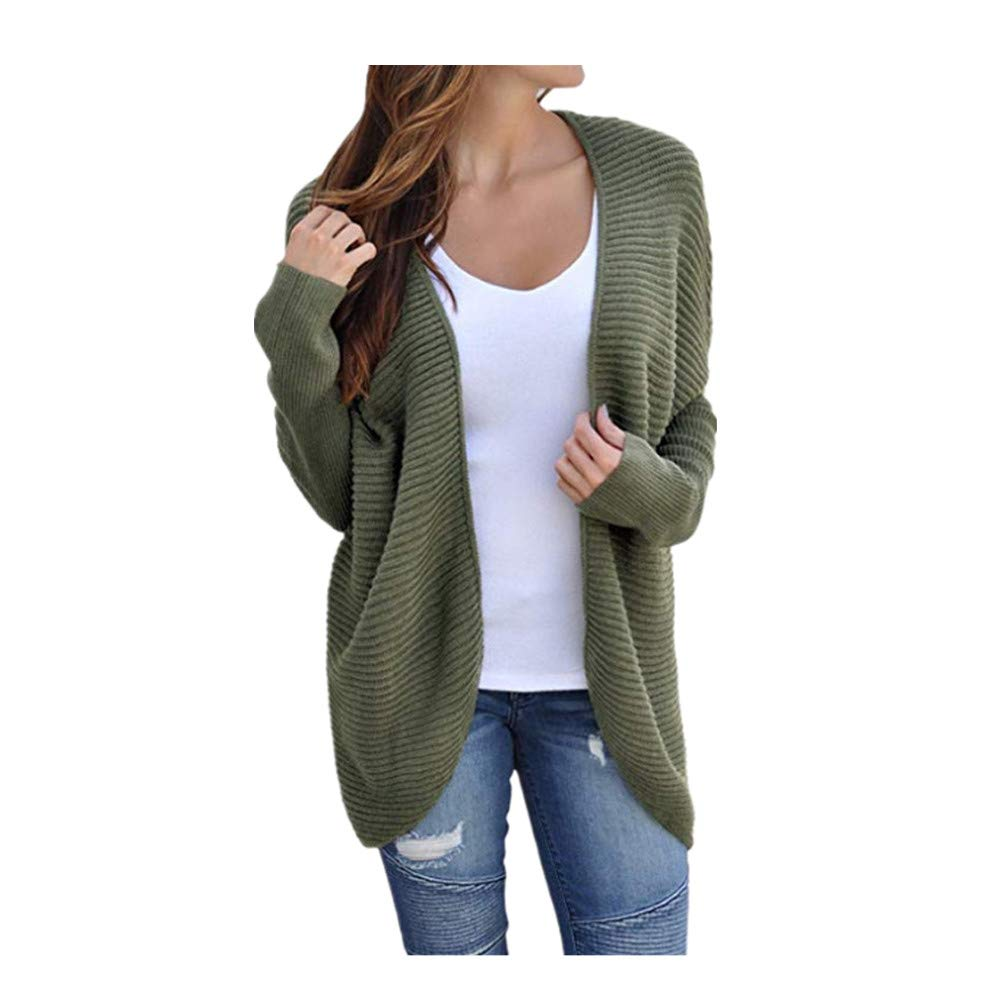 Batwing Sleeve Bandage Sweater Coat Women Winter Solid Knitted Tops Blouse