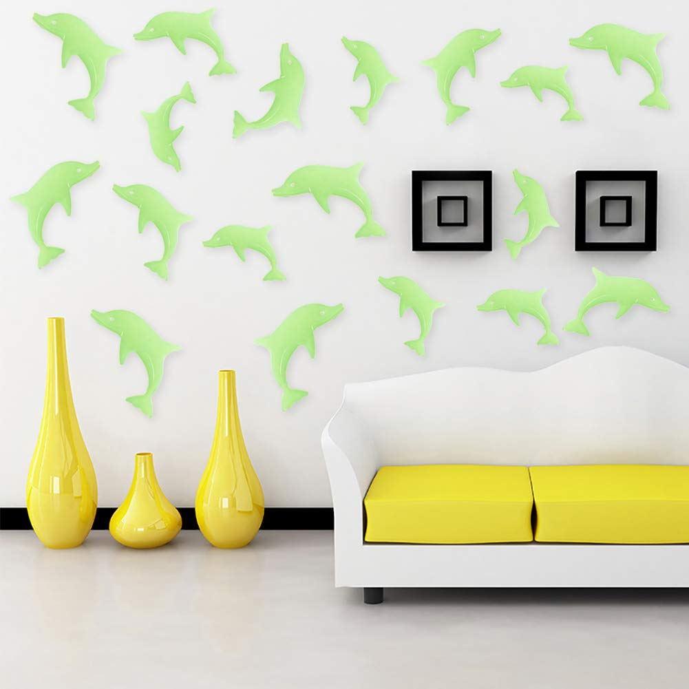 3D Glow in The Dark Dolphin Wall Stickers 2 Pack 18pcs Dolphin Luminous Wall Decorative for Babay Children Room Wall Decals YJG