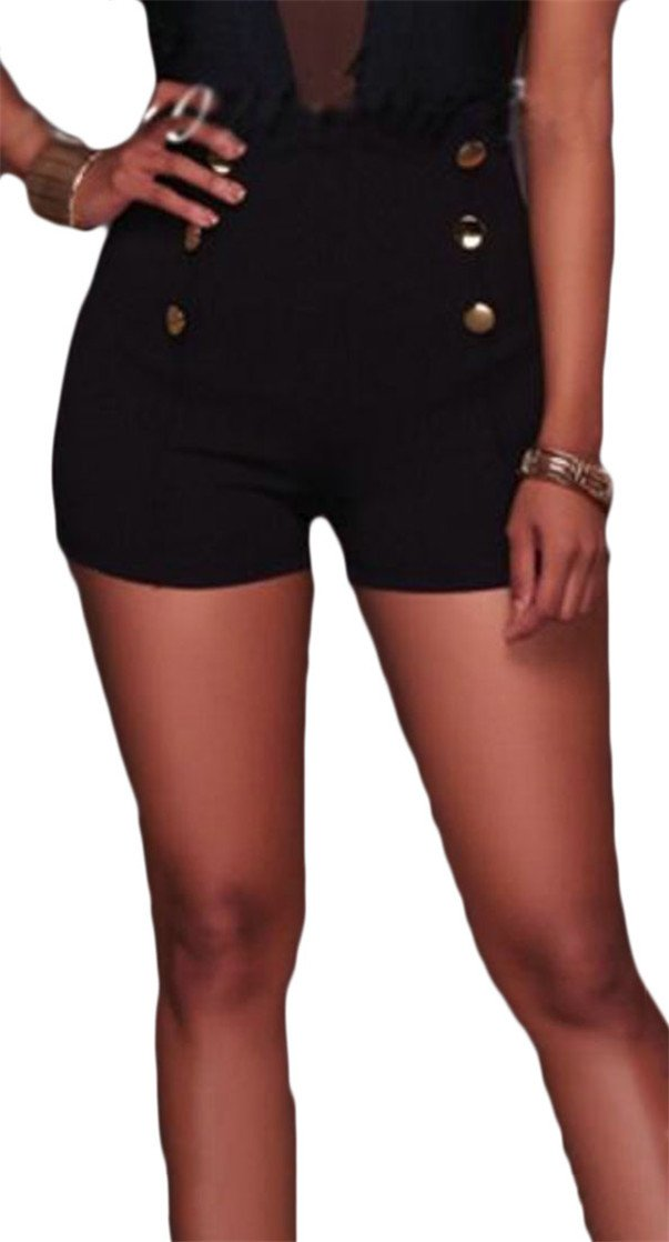 Vska Womens High Waist Business Sexy Double-Breasted Solid Shorts Black L