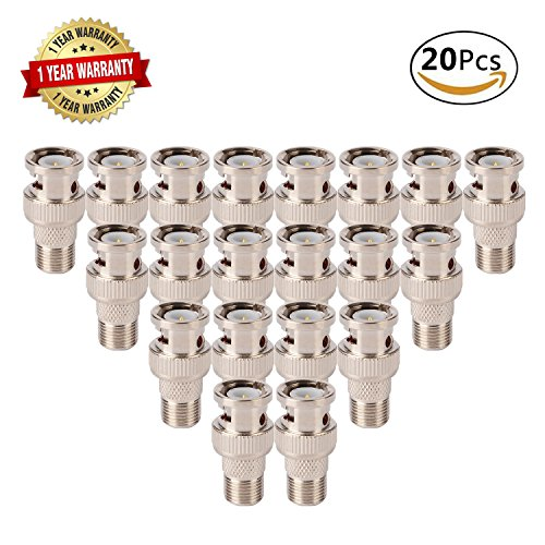 20Pcs F Female to BNC Male Connector,50Ohm Coax Straight Adapter Nickel-Plated Video RF Plug/Extension Converter for CCTV Security Camera Antenna System, RG59,RG60 Coaxial Cable,Headend Applications Nickel Rg6 F Connectors
