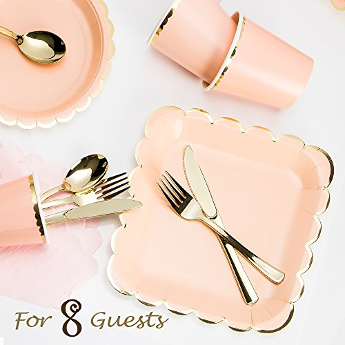 8 Guest Served Pink and Gold Rim Banquets One-time Disposable Paper Plates and Plastic Cutlery Set by Rolling Gears