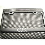 """Audi """"4 Ring Logo"""" Black License Plate Frame"""