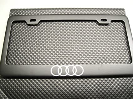 Audi Plate Frame >> Amazon Com Audi 4 Ring Logo Black License Plate Frame Automotive