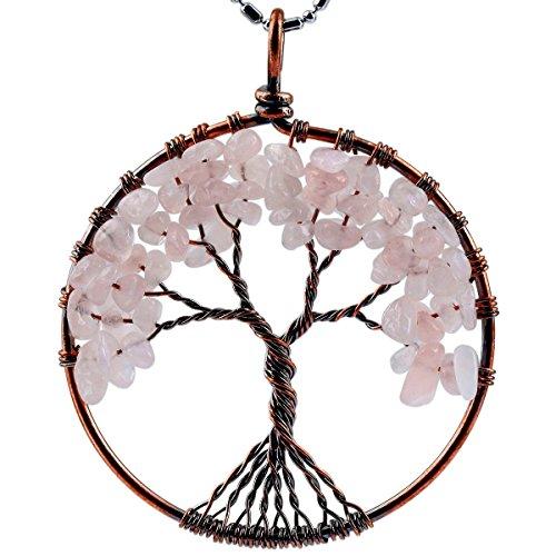 SUNYIK Rose Quartz Eternal Tree of Life Pendant Copper Plated