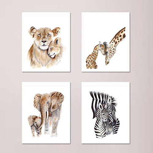 (African Mom and Baby Animal Print Set of 4 Prints, Wildlife Prints, Safari Animals included: Mom and Baby Lions, Elephants, Zebras, and Giraffes - Different Sizes Available)