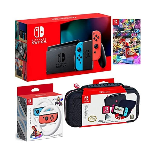 Nintendo Switch Bundle: 32GB Console Red and Blue Joy-Con, Nintendo Switch Wheel (set of 2), Deluxe Travel Case and… 1