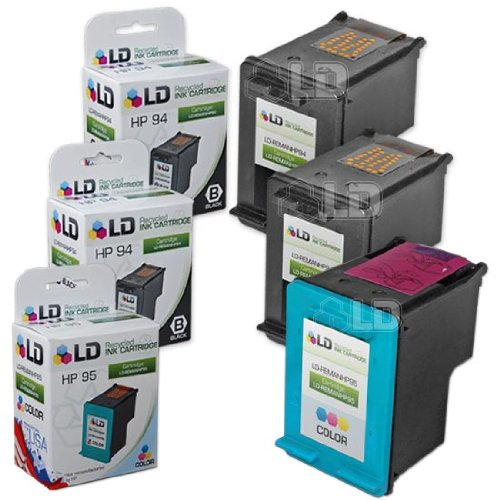 (LD Remanufactured Ink Cartridge Replacement for HP 94 & HP 95 (2 Black, 1 Color, 3-Pack))