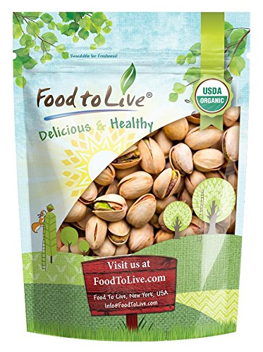 Food to Live Organic California Pistachios (In Shell, Roasted and Salted, Non-GMO, Kosher, Bulk) (1 Pound) (Best Food In California)