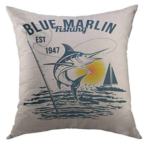 Blue Marlin Pillow - Mugod Pillow Cover Bass Blue Marlin Fishing Black Marline White Camp Sailfish Home Decorative Square Throw Pillow Cushion Cover 16x16 Inch Pillowcase