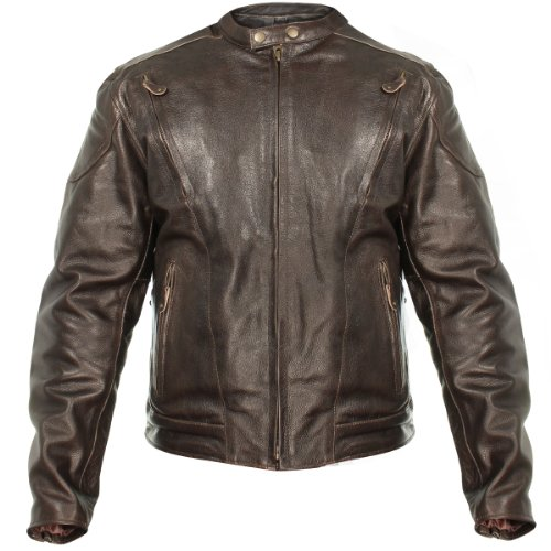 Xelement B7203 Men's 'Speedster' Retro Brown Premium Leather Motorcycle Jacket with Zip Out Lining - Brown / Large ()