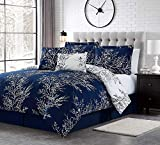 Spirit Linen Warm and Cozy Comforter Set Platinum Bedding Collection Baby Soft Texture Plush Bed Blanket (Navy, Queen)