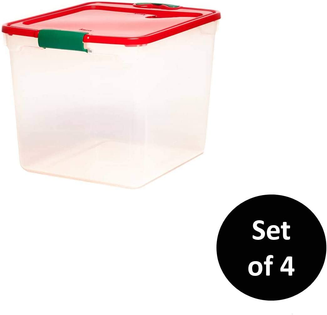 "HOMZ Holiday Plastic Storage Container, 31 Quart - 16.25"" x 13"" x 12.125"", Clear/Red/Green, 4 Sets"