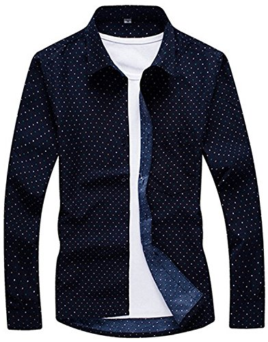 Discount KDHJJOLY New Mens Trendy Polka Dot Slim Autumn Button-up Shirts for cheap