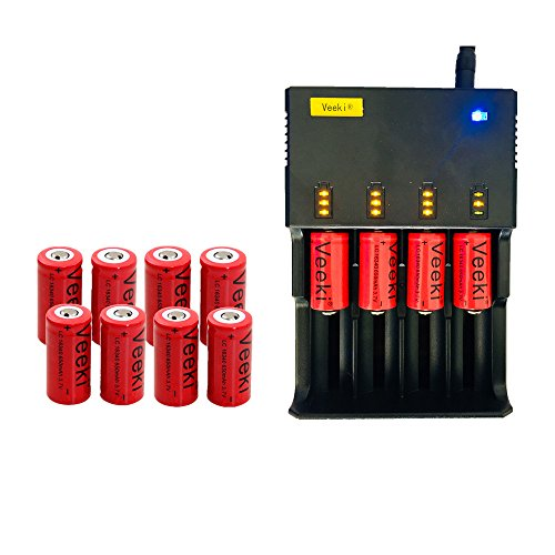 CR123A Rechargeable Batteries and 4-slot Universal LCD Battery Charger, Veeki 16340 RCR123A 3.7V 650mah High-capacity Li-ion Protected Battery 12 PCS Perfect Power for Flashlight Photo Camera and More by Veeki