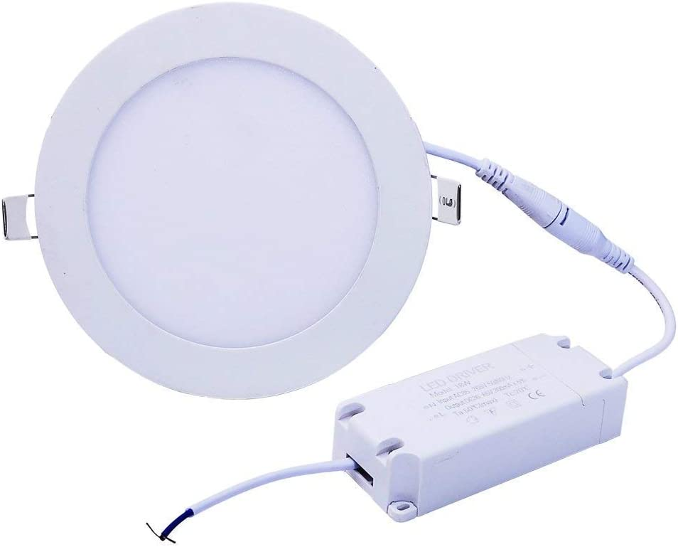 H&G Lighting 12W 6-inch Dimmable Flat LED Panel Light Lamp, 960lm, 80W Incandescent Equivalent, 3000K Warm White, LED Recessed Ceiling Lights for Home, Office, Commercial Lighting