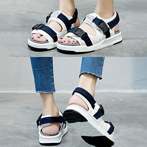 Sandals CJC Lady's Womens Ankle Strap Wedge Heel Peep Toe Flatform Sport Shoes B sxNK1QC
