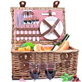 SatisInside New USA Insulated Deluxe 16Pcs Hamper Wicker Picnic Basket Set for 2 People - Reinforced Handle - Red Gingham