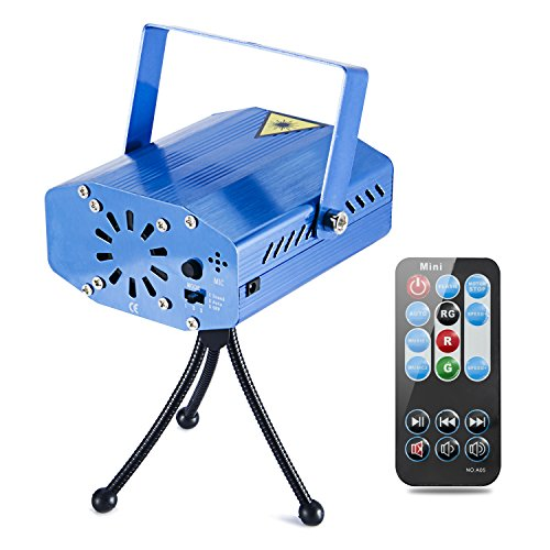 Coidea Stage Projector Light Party 7 Modes Sound Actived Auto Flash Rgb Led Stage Lights with Remote Control (Blue)
