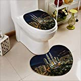 also easy 2 Piece Toilet lid cover mat set Kuala Lumpur Petronas Twin Tower during blue hour Soft Shaggy Non Slip
