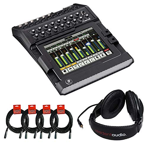 Mackie DL1608 16-Channel Digital Live Sound Mixer with R100 Stereo Headphones & (4) XLR Cable Bundle