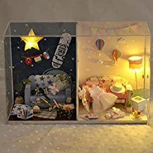 Longshow Dollhouse Miniature Furniture Dollhouse Kits DIY House with LED Light Great for Kids Art Craft Projects - Anniversary