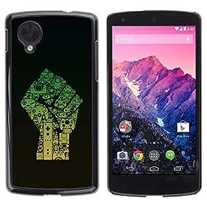 Be Good Phone Accessory // Dura Cáscara cubierta Protectora Caso Carcasa Funda de Protección para LG Google Nexus 5 D820 D821 // Fist Power