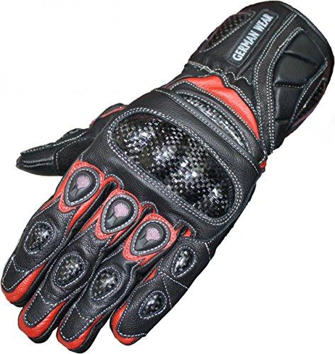 German Wear Motorradhandschuhe Motorrad Biker Handschuhe Lederhandschuhe, Größe:11=XXL, Farbe:Rot