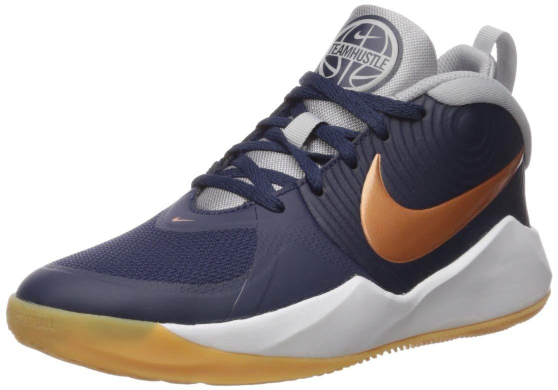 Nike Unisex-Kid's Team Hustle D 9 Grade School Basketball Shoe, Midnight Navy/Metallic Copper-Wolf Grey, 6Y Regular US Big Kid by Nike