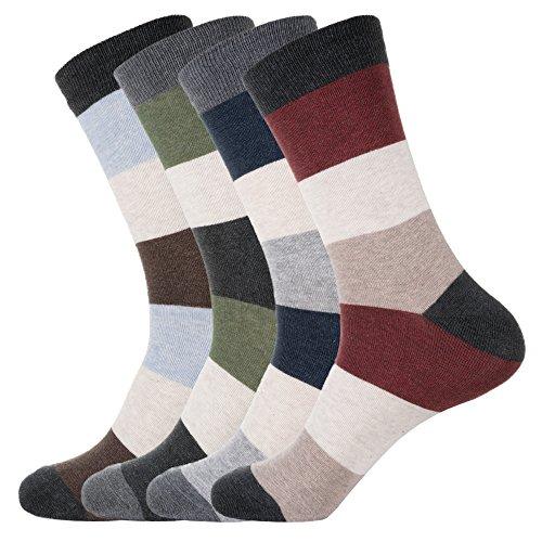 KONY Men's Premium Combed Cotton Dress Crew Socks - Colorful Stripe Patterned Business Socks, Size 9-12 (Hush - 4 Pairs)