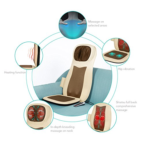 Naipo Shiatsu Back Massager Massage Chair Cushion Seat Deep Kneading with Heat Vibration Neck Shoulder Pain Relieve Tired Muscles Relaxer in Home Office & Car
