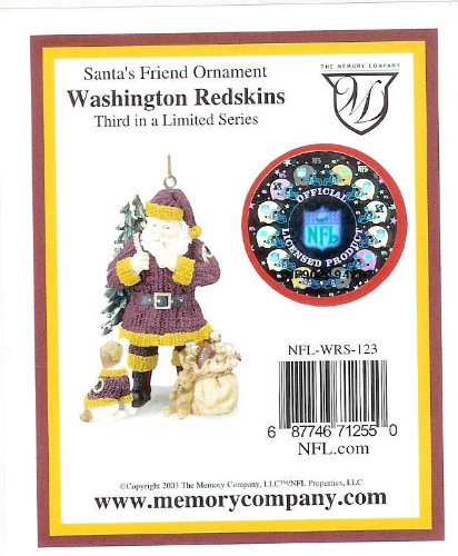 Redskins Santa - 2003 Washington Redskins Santa's Friend Christmas Ornament