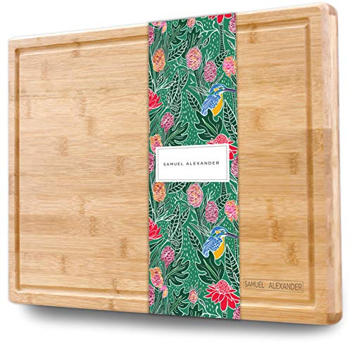 - Samuel Alexander Bamboo Cheese Board & Cutting Board with Juice Groove - Professional Wooden Chopping Board Ideal as a Meat Cutting Board & Cheese Block - Large Surface Area 18