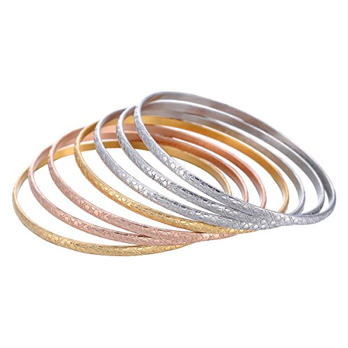 Housweety Tri-color Silver/Gold/Rose Gold Stainless Steel Stackable Bangle Bracelets Set for Women (Tri Color Love Bracelet)