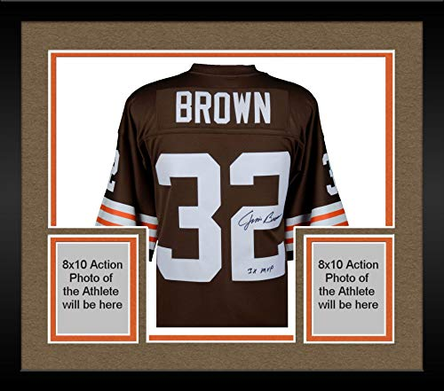 - Framed Jim Brown Cleveland Browns Autographed Mitchell & Ness Replica Jersey with