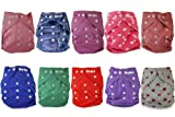cloth diaper inserts fuzzi bunz - Naughty Baby Cloth Diapers with 3 Layer Microfiber Insert (GIRLS Pack of 10) 6-31 Lbs Leak Proof PUL Pocket Diaper (Styles may vary)