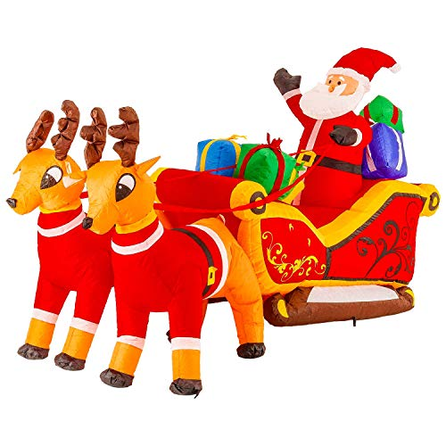 TCP Global Christmas Masters Giant 10 Foot Long Inflatable Santa Claus On Sleigh Reindeer Gift Presents LED Lights Indoor Outdoor Yard Lawn Decoration - Cute Fun Xmas Holiday Blow Up Party Display