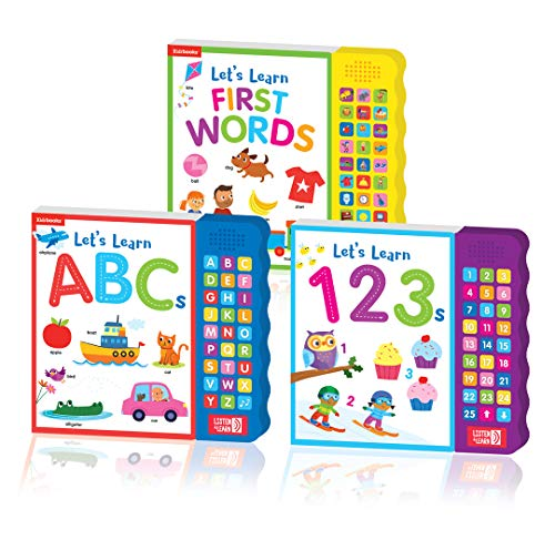 Kidsbooks Children's Early Learning Concepts Interactive Listen & Learn Sound Books: Let's Learn ABC's, Let's Learn 1,2,3's, and Let's Learn First Words 3 Book Bundle (27 Buttons)